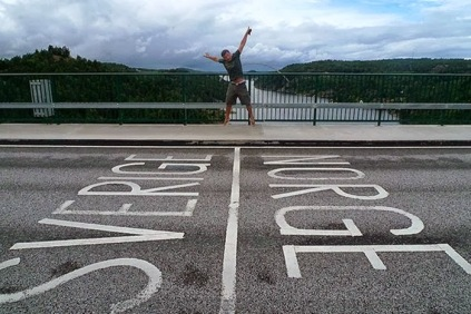 Sweden and Norway Country Border Rive Bridge Road