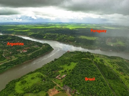 Argentina, Paraguay and Brazil River Country Border Triangle Point