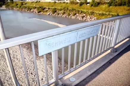 Switzerland and Liechtenstein Country Border River Bridge