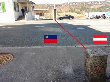 Liechtenstein and Austria Country Border Road Line